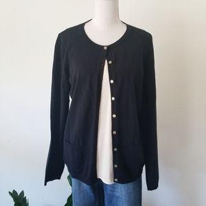 NWT Talbots Pima Cotton Black Cardigan Sweater L